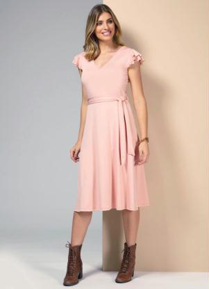 Vestido com Mangas em Camadas de Babado (Rosa)