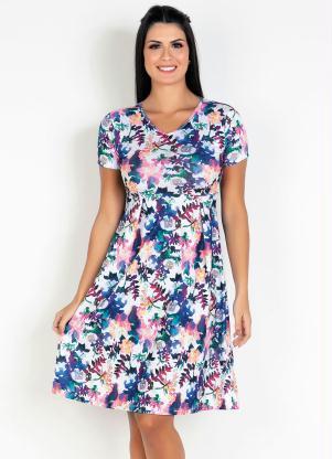 Vestido com Pregas (Floral) Moda Evangélica