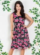 Vestido com Pregas Moda Evangélica Floral Dark