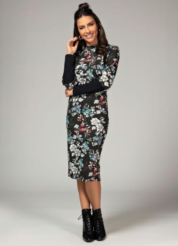 Vestido com Punho Largo (Floral Preto)