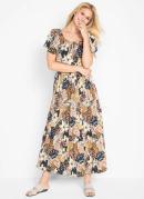 Vestido com Recorte e Franzido Floral Marrom