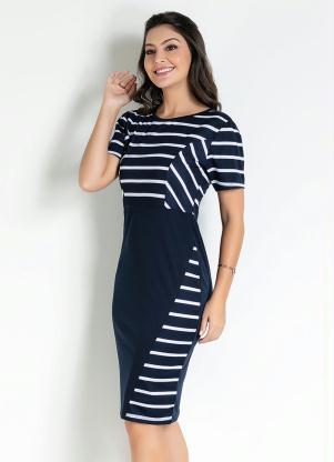 Vestido com Recorte (Listras Azul) Moda Evangélica