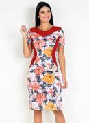 Vestido com Recortes Floral Moda Evangélica