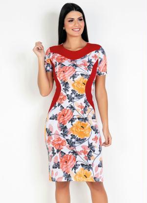 Vestido com Recortes (Floral) Moda Evangélica