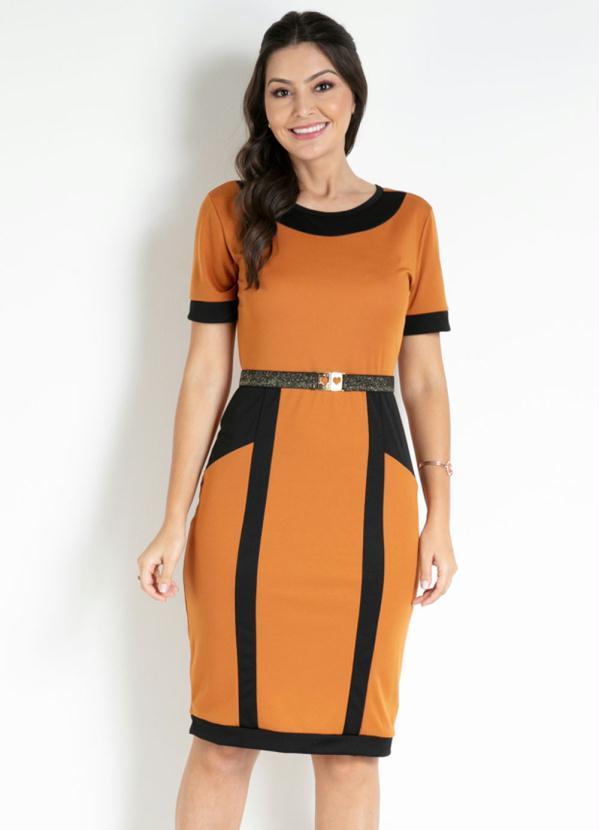 Vestido com Recortes (Mostarda) Moda Evangélica