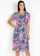 Vestido com Renda Floral Rosa Moda Evangélica