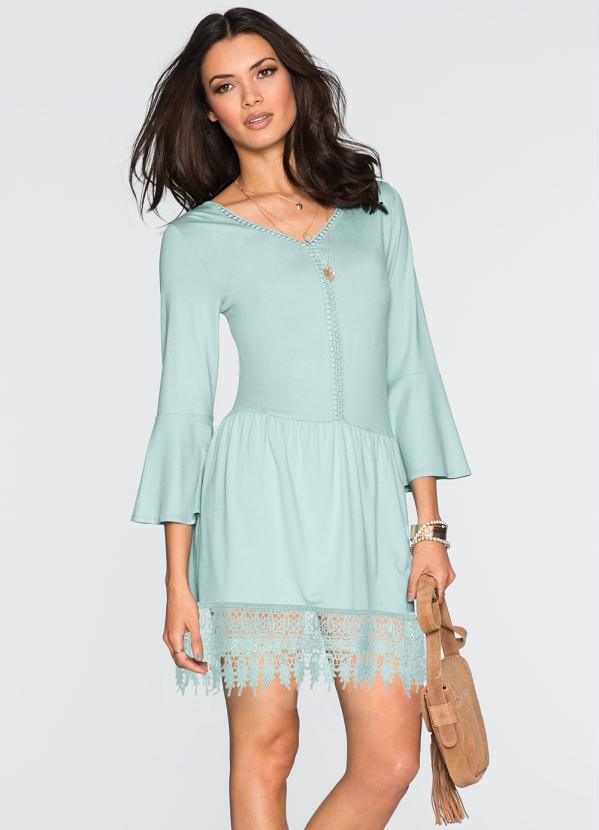 Vestido com Renda Guipir (Azul)