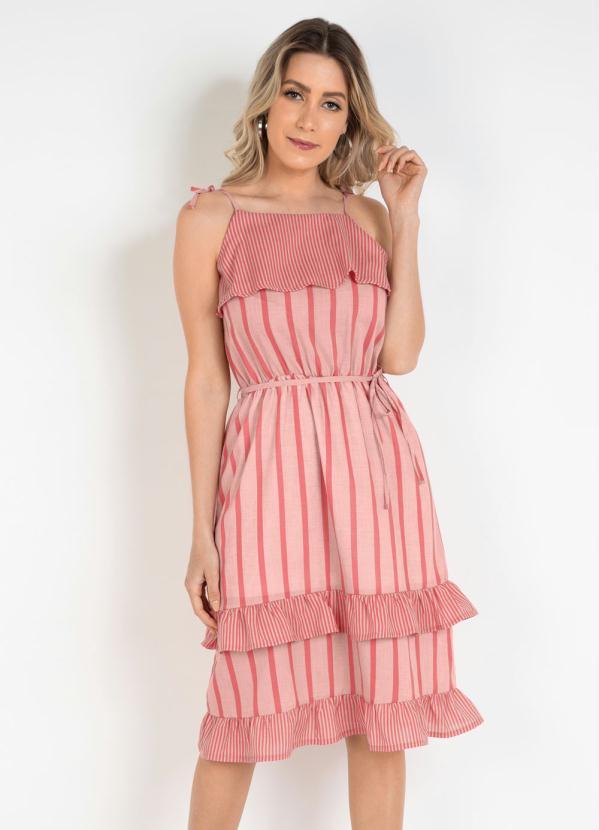Vestido de Alcinhas com Babados (Listras Rosa)