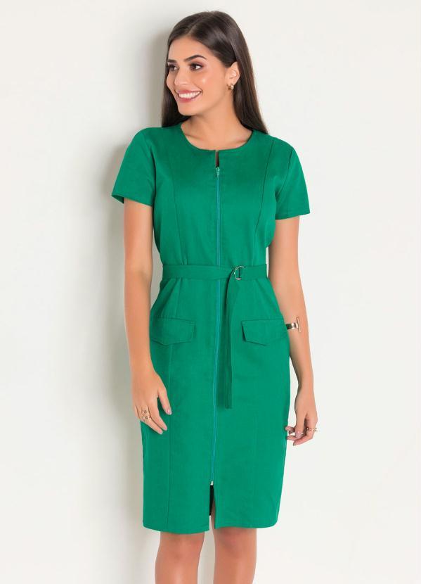 Vestido de Sarja (Verde) com Zíper Moda Evangélica