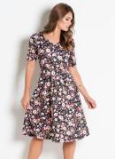 Vestido Decote Coração Floral Moda Evangélica