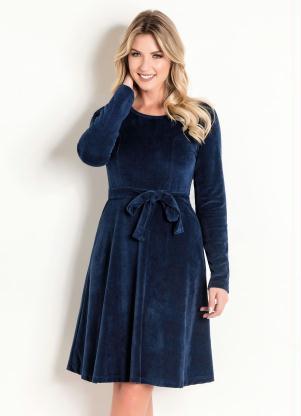 774aa540cb Vestido em Plush Marinho Moda Evangélica - SouLojista
