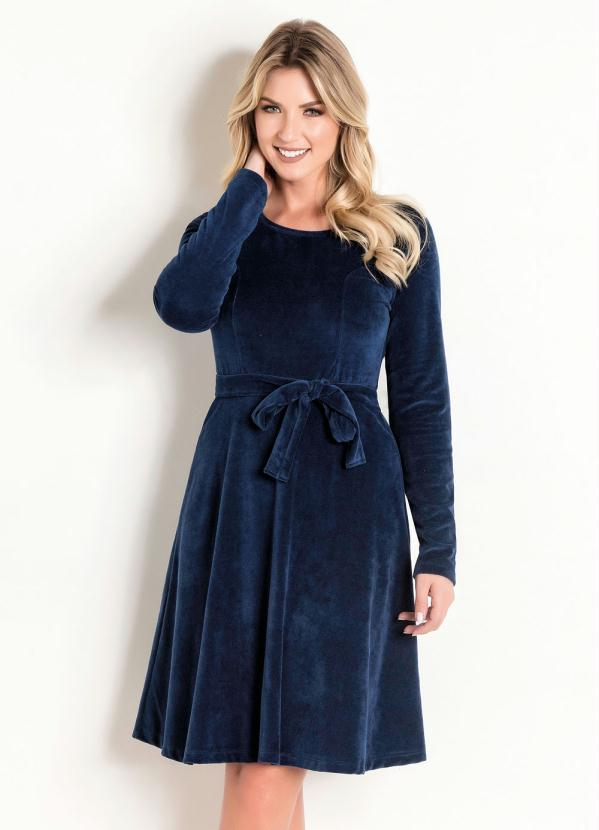 Vestido em Plush (Marinho) Moda Evangélica