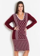Vestido em Tricô Bordô Moda Evangélica