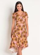 Vestido Estampa Girassol Moda Evangélica