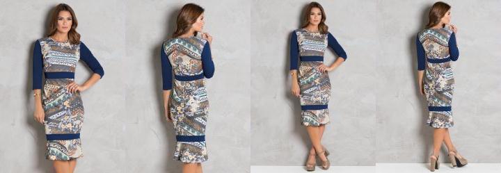 331feed36b Score  0.0 Vestido Estampado com Recortes Moda Evangélica
