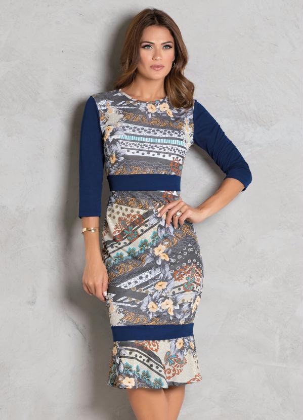 Vestido (Estampado) com Recortes Moda Evangélica