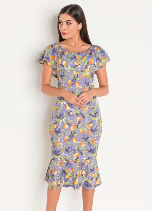Vestido (Estampado Lilás) Moda Evangélica