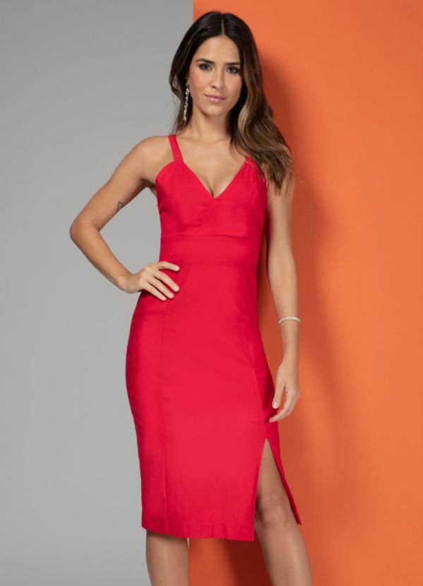 Vestido Estruturado com Recortes (Vermelho)