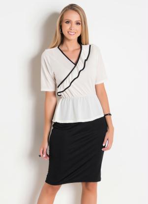 Vestido Peplum Moda Evangélica (Bicolor)