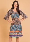 Vestido Evasê Étnico Moda Evangélica
