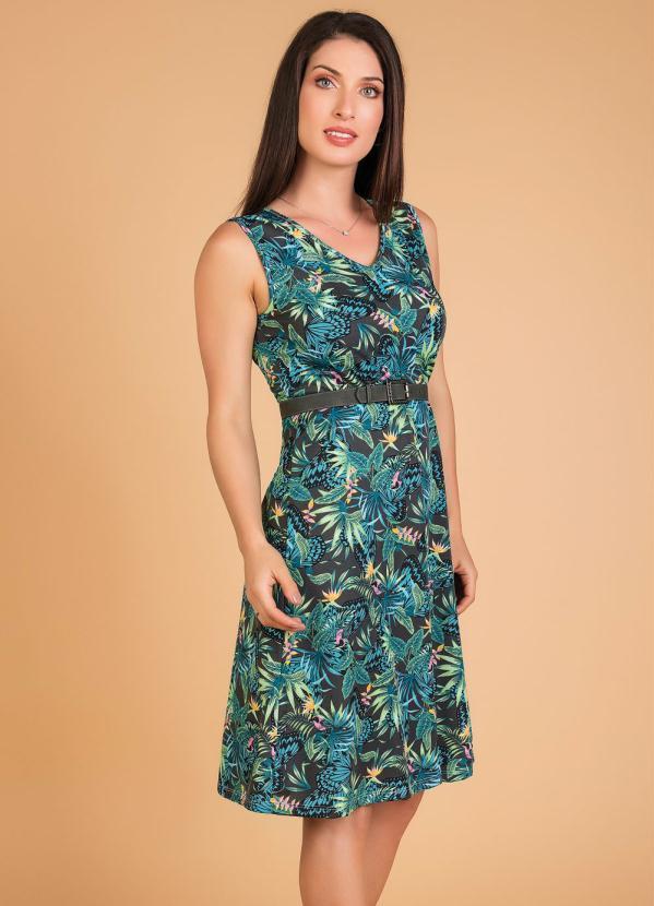 Vestido Evasê (Folhagem) Moda Evangélica