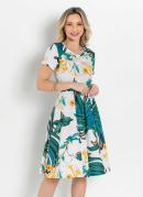 Vestido Evasê Folhagem Verde Moda Evangélica