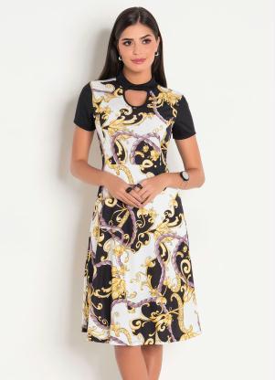 2ff71cbc18 Vestido Evasê Moda Evangélica Arabescos - Quintess