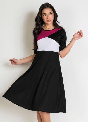 Vestido Evasê (Tricolor) Moda Evangélica