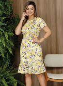 Vestido Floral Amarelo com Forro Moda Evangélica