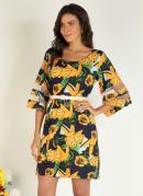 Vestido Floral Amarelo com Recortes em Tule