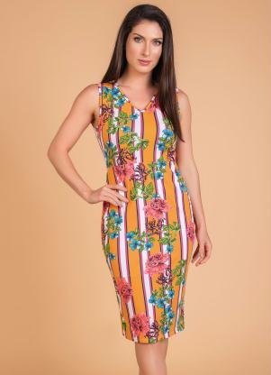 Vestido (Floral Amarelo) Moda Evangélica