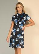 Vestido Floral Azul com Amarração no Decote
