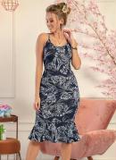 Vestido Floral Azul com Babado na Barra