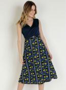 Vestido Floral Azul com Franzido Moda Evangélica