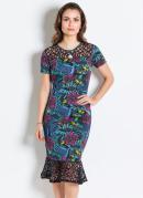 Vestido Floral Azul com Renda Moda Evangélica
