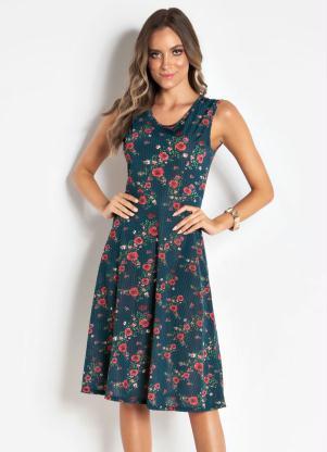355fa8e8d Vestido Floral sem Mangas Moda Evangélica - SouLojista