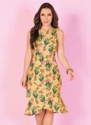 Vestido Floral com Babado na Barra