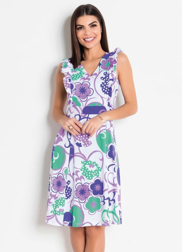 Vestido (Floral) com Babados Moda Evangélica