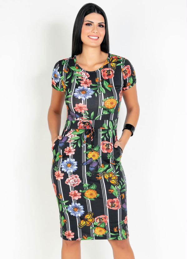 Vestido (Floral) com Bolso Moda Evangélica