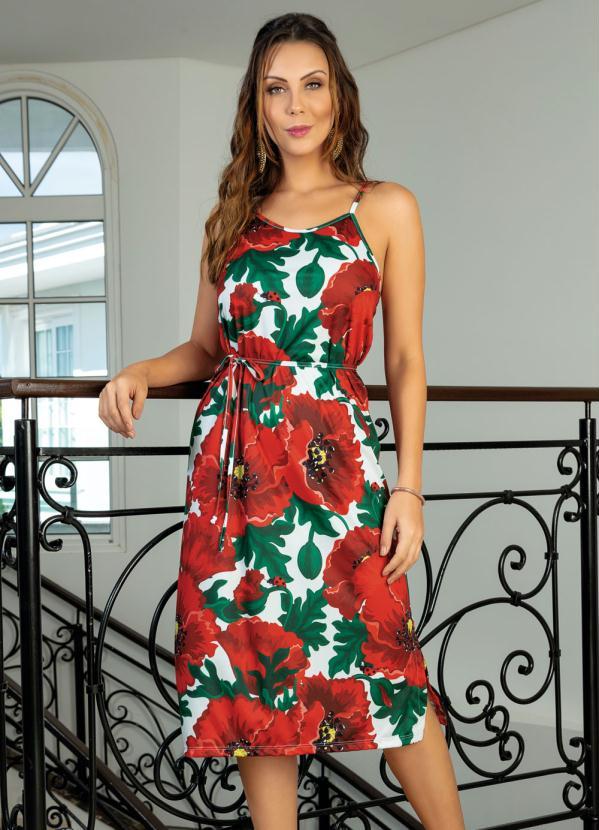 Vestido (Floral) com Fendas Laterais