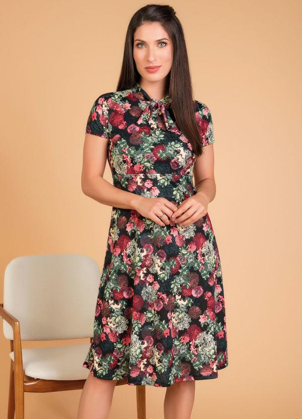 Vestido (Floral) com Gola Moda Evangélica