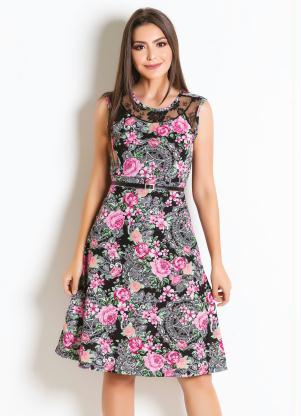 8ca3aa612e Vestido Floral com Renda Moda Evangélica - SouLojista