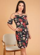 Vestido Floral com Tule Moda Evangélica