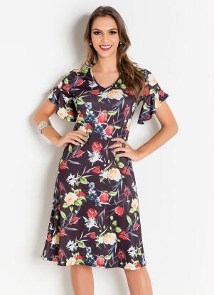 Vestido (Floral Dark) Moda Evangélica