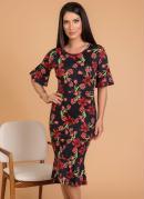 Vestido Floral Dark Moda Evangélica