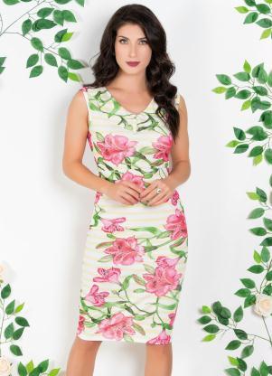 Vestido (Floral e Listrado) com Decote V