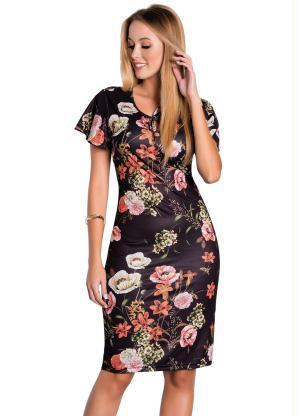 Vestido (Floral) Moda Evangélica com Mangas Amplas