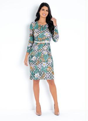 Vestido (Floral/Poá) com Mangas Moda Evangélica