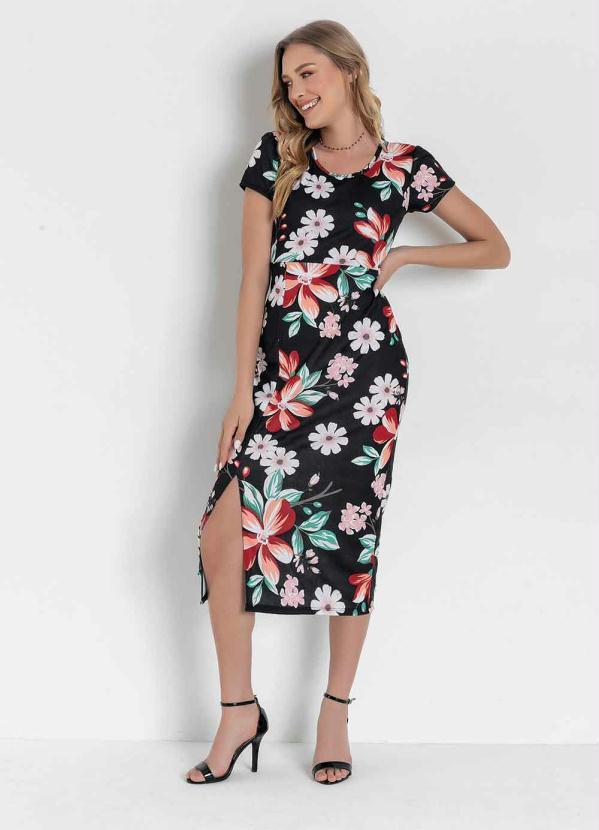 Vestido (Floral Preto) com Fenda