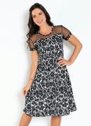 Vestido Floral Preto com Tule Moda Evangélica